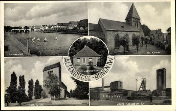 Ak Altenbögge Bönen in Westfalen, Badeanstalt, Ev. Kirche, Kath. Kirche, Zeche Königsborn 3/4