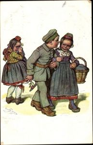 Künstler Ak Beithan, Emil, Hessische Volkstrachten, Soldat