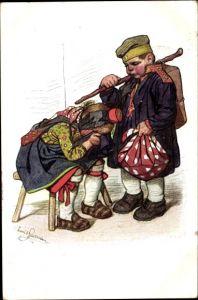 Künstler Ak Beithan, Emil, Hessische Volkstracht, Soldat