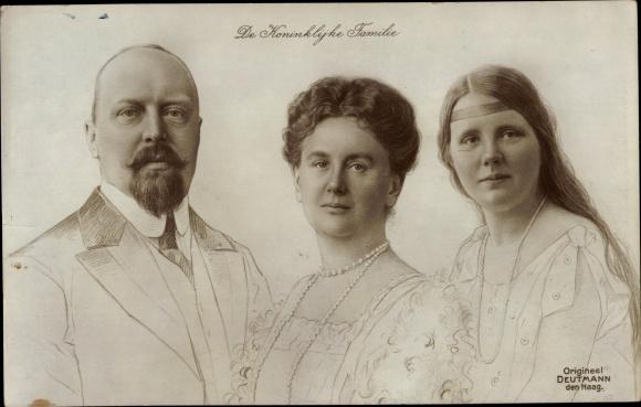 Künstler Ak Deutmann, Königin Wilhelmina der Niederlande, Heinrich zu Mecklenburg, Juliana