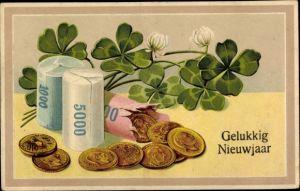 Präge Ak Glückwunsch Neujahr, Gelukkig Nieuwjaar, Münzen, Klee