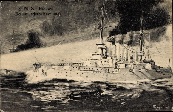 Künstler Ak Bayerlein, Deutsches Kriegsschiff, SMS Hessen, Scheinwerferbeleuchtung
