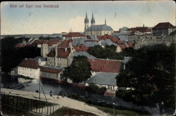 Ak Cheb Eger Reg. Karlsbad, Stadtpanorama vom Steinbruch