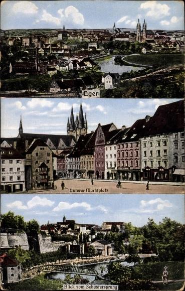 Ak Cheb Eger Reg. Karlsbad, Unterer Marktplatz, Blick vom Schustersprung