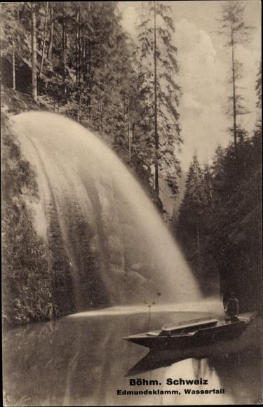 Ak Hřensko Herrnskretschen Elbe Reg. Aussig, Edmundsklamm, Wasserfall