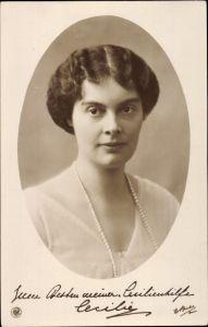 Ak Kronprinzessin Cecilie von Preußen, Portrait, NPG