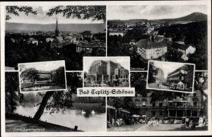 Ak Teplice Teplitz Schönau Reg. Aussig, Herrenhausbad, Schlossgartenteich, Stadttheater, Steinbad