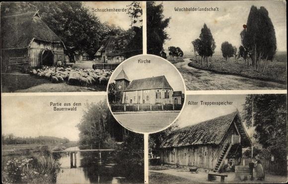 Ak Müden Örtze Faßberg Lüneburger Heide, Schnuckenherde, Wacholderlandschaft, Kirche, Bauernwald