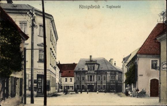 Ak Königsbrück in der Oberlausitz, Topfmarkt