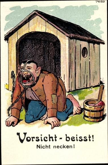 Ak Vorsicht beißt, nicht necken, Maulkorb, Hundehaus, Hundehütte