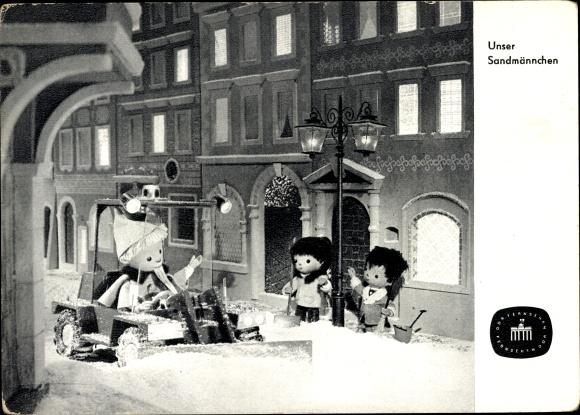 Ak Unser Sandmännchen, Sandmann, DDR Kinderfernsehen, Schneepflug, S 144