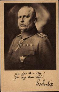 Ak General Erich Friedrich Wilhelm Ludendorff, Portrait in Uniform
