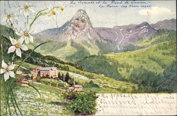 Künstler Ak Schlemo, Les Avants et la Dent de Jaman, Berggesichter, Killinger 204
