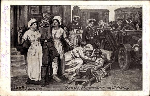 Künstler Ak Strieffler, Transport Verwundeter im Weltkrieg, Sanitäter, Krankenschwestern