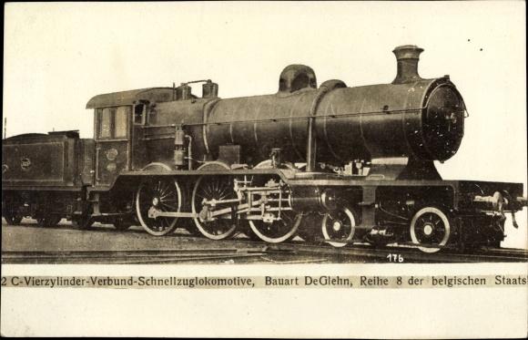 Ak Belgische Eisenbahn, Dampflok, Bauart DeGlehn, Reihe 8, 2C 4 Zyl Schnellzug