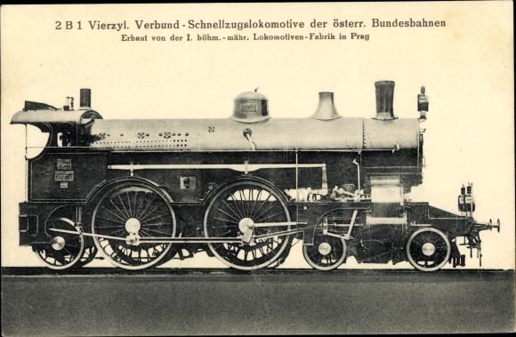 Ak Österreichische Eisenbahn, Dampflok, 2B1 4 Zyl Verbund Schnellzug Lok