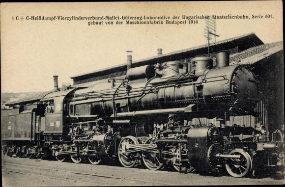 Ak Ungarische Eisenbahn, Dampflok, 1CC Heißdampf 4 Zyl Verbund Mallet Güterzug, Serie 601