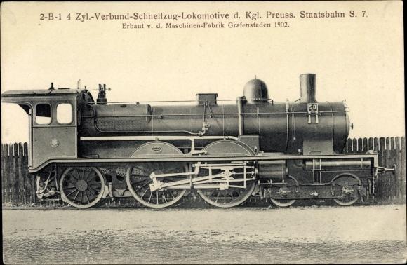Ak Deutsche Eisenbahn, Dampflokomotive, 2B1 4 Zyl Verbund Schnellzug, S 7, 50