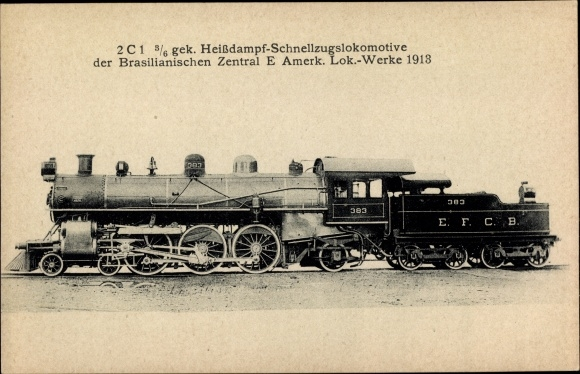 Ak Brasilianische Eisenbahn, Dampflok, 2C1 3/6 gek. Heißdampf Schnellzug Lok, 383