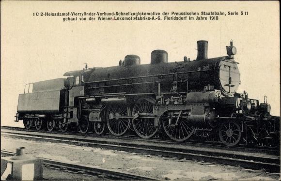 Ak Deutsche Eisenbahn, Dampflokomotive, 1C2 Heißdampf 4 Zyl Verbund Schnellzug, S 11