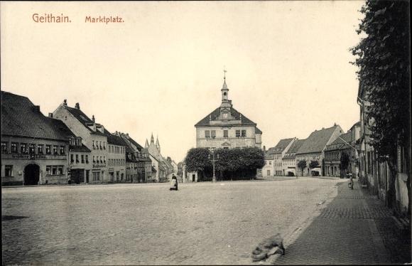 Ak Geithain in Sachsen, Marktplatz, Rathaus, Gasthaus Goldner Löwe, Buchdruckerei