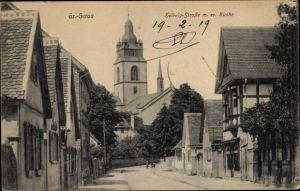 Ak Groß Groß Gerau in Hessen, Hellwigstraße, Ev. Kirche
