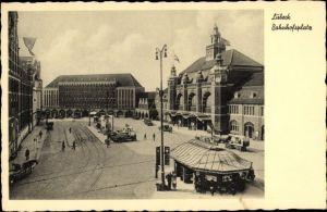 Ak Lübeck in Schleswig Holstein, Bahnhof