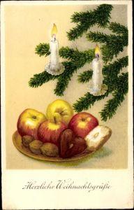 Ak Frohe Weihnachten, Tannenbaum, Kerzen, Gabenteller, Nüsse, Lebkuchen, Äpfel