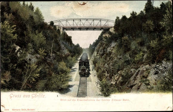 Ak Görlitz in der Lausitz, Blick auf die Eisenbahnlinie der Görlitz Zittauer Bahn