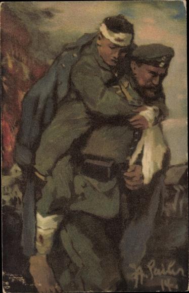 Künstler Ak Sailer, Soldat trägt Verwundeten Kameraden vom Schlachtfeld, I. WK