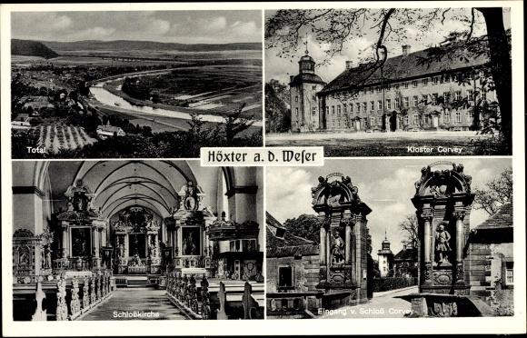 Ak Höxter in Nordrhein Westfalen, Totale, Kloster Corvey, Schlosskirche, Eingang von Schloss Corvey
