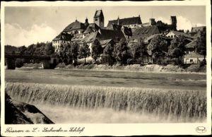 Ak Füssen im Ostallgäu, Lechwehr und Schloss