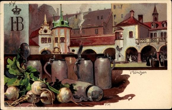Künstler Litho Kley, Heinrich, München Bayern, Hofbräuhaus, Stilleben, Maßkrüge, Kohlrabi