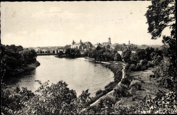 Ak Neuburg an der Donau Oberbayern, Fluss Panorama, Ortsansicht 0