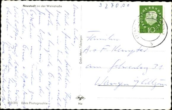 Ak Neustadt an der Weinstrasse in Rheinland Pfalz, Ortsansicht 1