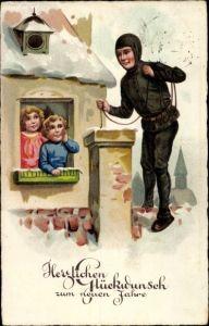 Ak Glückwunsch Neujahr, Schornsteinfeger, Kinder, EAS 958