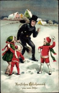Ak Glückwunsch Neujahr, Schornsteinfeger, Kinder, Schneeballschlacht, EAS 812