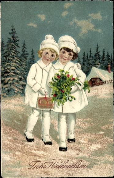 Ak Frohe Weihnachten, Kinder, Stechpalmenzweig, Tannenbäume