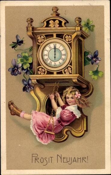 Präge Ak Glückwunsch Neujahr, Uhr, Schaukel, Mädchen