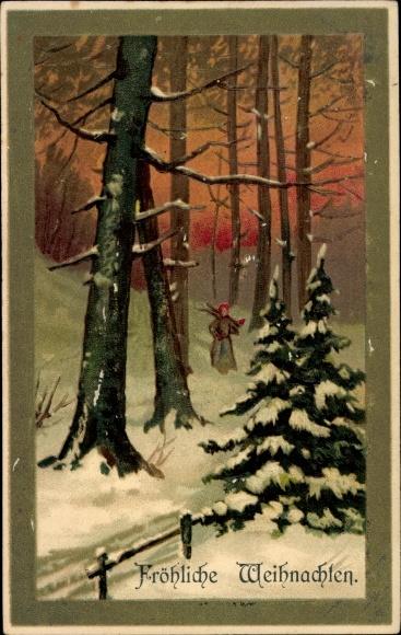 Präge Ak Frohe Weihnachten, Tannenbäume