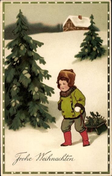 Präge Ak Frohe Weihnachten, Tannenbäume, Junge, Schlitten