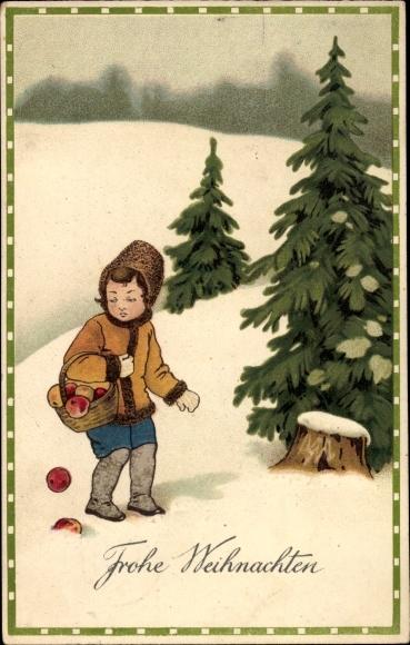 Präge Ak Frohe Weihnachten, Tannenbäume, Mädchen, Äpfel