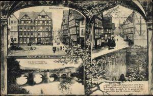 Ak Melsungen in Hessen, Brückenstraße, Alte Bürgerbrücke, Fachwerkhäuser