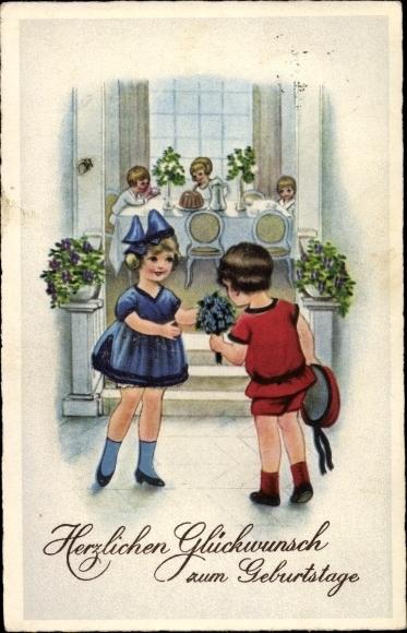 Ak Glückwunsch Geburtstag, gedeckter Tisch, Kinder, Empfang, Blumenstrauß