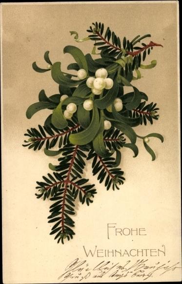 Präge Ak Frohe Weihnachten, Tannenzweig, Mistelzweig