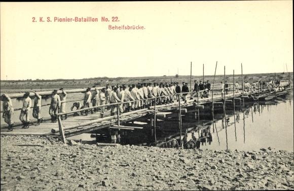 Ak 2. K. S. Pionier Bataillon No. 22, Behelfsbrücke