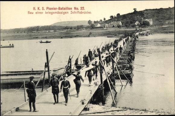 Ak II. K. S. Pionier Bataillon No. 22, Bau einer kriegsmäßigen Schiffbrücke