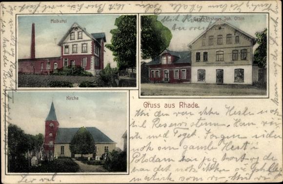 Ak Rhade in Niedersachsen, Molkerei, Kirche, Geschäftshaus