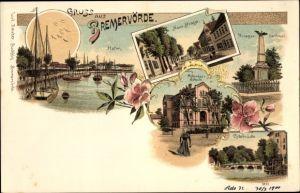 Litho Bremervörde in Niedersachsen, Hafen, Neue Straße, Kriegerdenkmal, Ackerbauschule, Ostebrücke