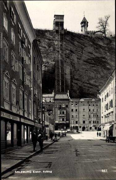 Ak Salzburg in Österreich, Aufzug, Geschäft